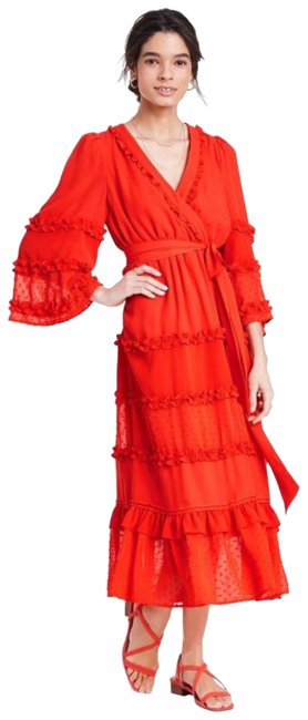 Item - Red Orange X Target Angel Tiered Midi Mid-length Short Casual Dress Size 4 (S)