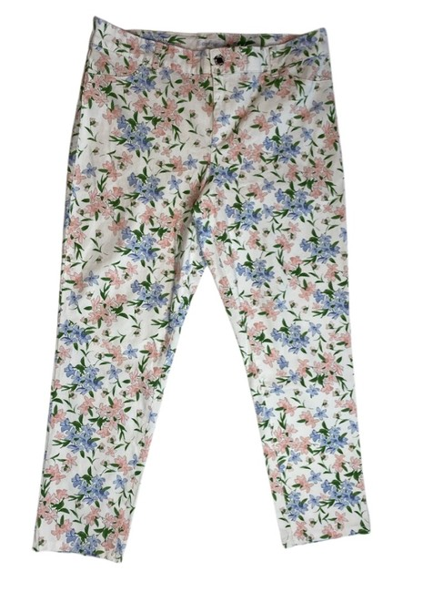 Item - White Blue Green Pink Casual Floral Print Ankle Stretchy & Soft Pants Size 14 (L, 34)