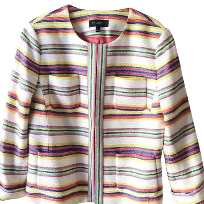 Item - White Red Multi-color Stripe Textured Collarless Casual Jacket Blazer Size 8 (M)