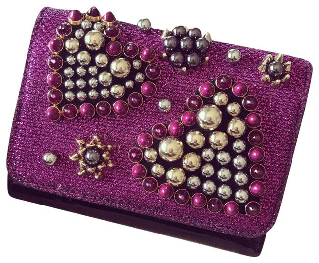 Item - Purple Pink Red Shimmer Heart Beads Folded Wallet