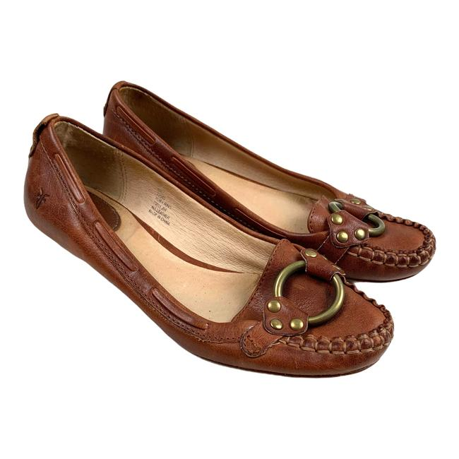 Item - Brown Ruby Ring Leather Loafers Slip On Moccasins 6m Flats Size US 6 Regular (M, B)
