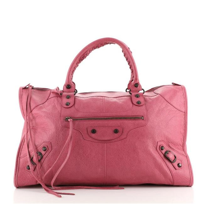 Item - Work Classic Studs Pink Leather Satchel