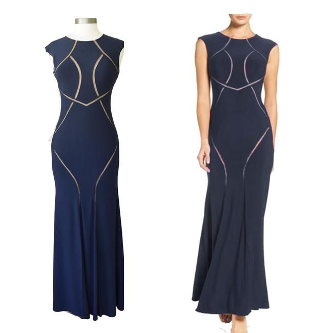 Item - Navy Jersey Illusion Scroll Mermaid Gown Long Formal Dress Size 4 (S)
