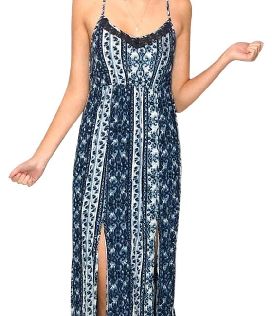 Item - Blue XS Women's Lace Up Beach Travel Summer Casual Maxi Dress Size 2 (XS)