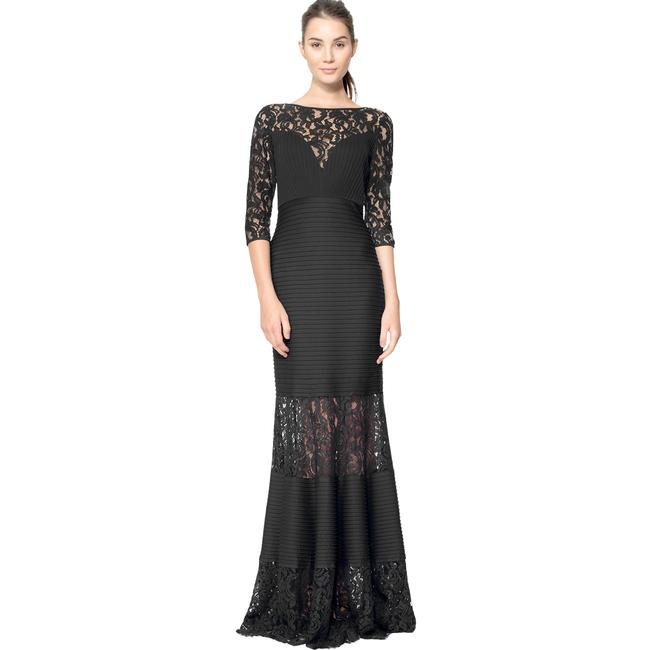 Item - Black Pintuck Illusion Lace Mermaid Gown Long Formal Dress Size 10 (M)