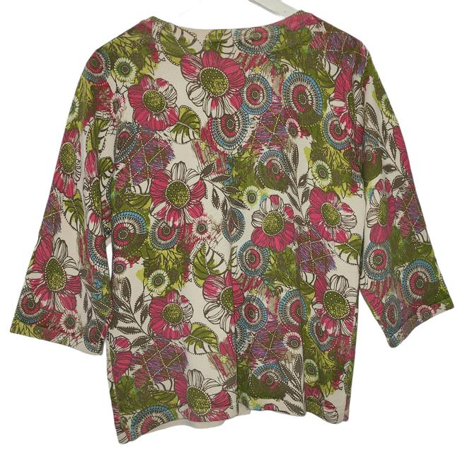 Item - Multicolor Womens Sweater Floral Flowers Med 1055 Cardigan Size 8 (M)