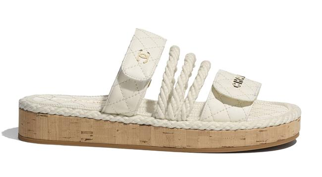 Item - Ivory 21s Dad White Cord Rope Cc Quilted Mule Slide Strap Flat Sandals Size EU 38 (Approx. US 8) Regular (M, B)