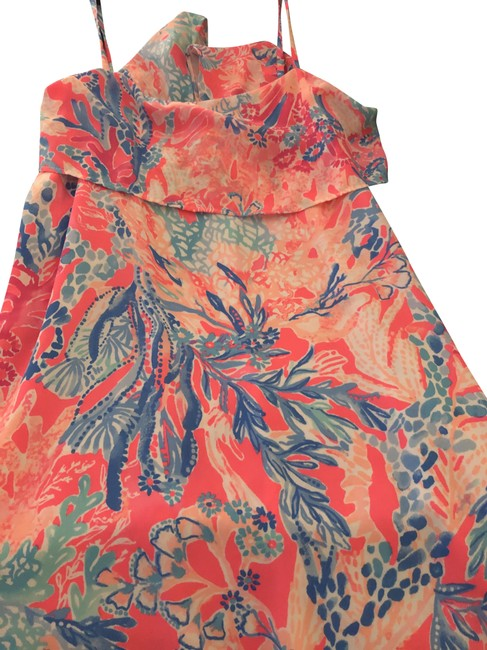 Item - Pink and Blue Silk Short Cocktail Dress Size 2 (XS)