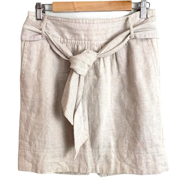 Item - Cream Linen Belted Paperbag Tie Waist Small S Skirt Size 6 (S, 28)