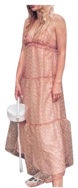 Item - Pink Floral Organza Med Casual Maxi Dress Size 10 (M)