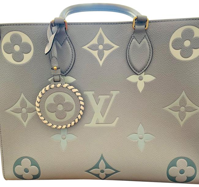 Item - Onthego Mm By The Pool Blue Empreinte Leather Tote