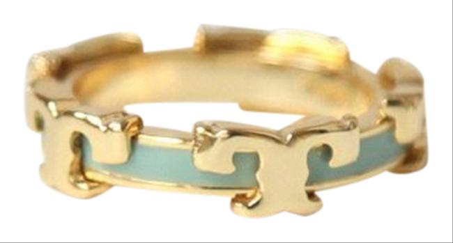 Item - Gold/Mint T Serif-t Enameled Stackable Ring