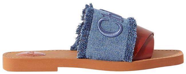 Item - Blue Woody Frayed Logo-embroidered Denim and Leather Slides Sandals Size EU 38 (Approx. US 8) Regular (M, B)