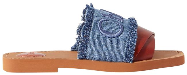 Item - Blue Woody Frayed Logo-embroidered Denim and Leather Slides Sandals Size EU 42 (Approx. US 12) Regular (M, B)