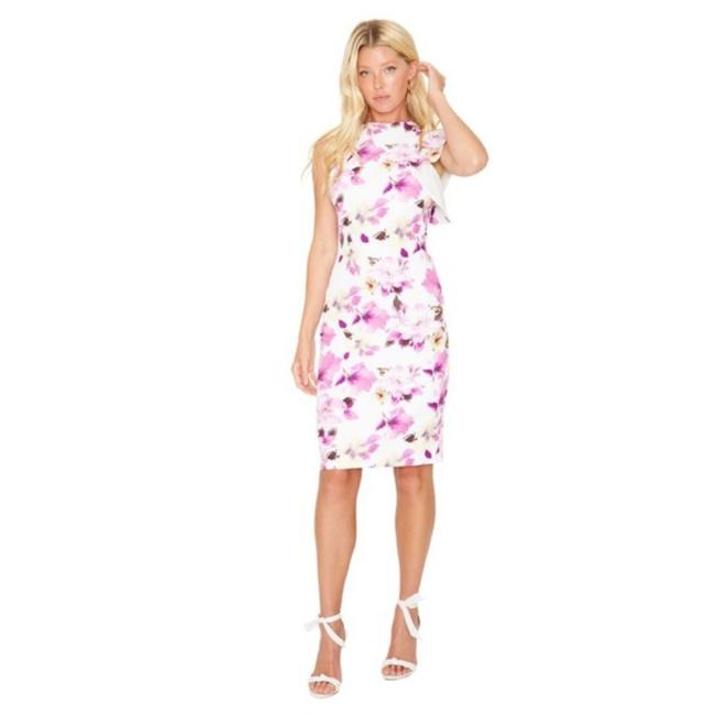 Item - Pink White Pabla Floral Sheath Mid-length Cocktail Dress Size 0 (XS)