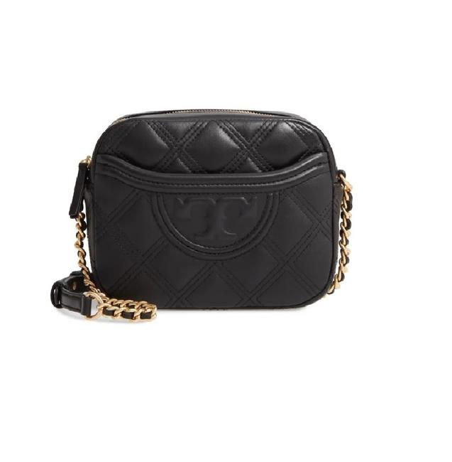 Item - Camera Fleming Quilted Black/Gold Leather Cross Body Bag