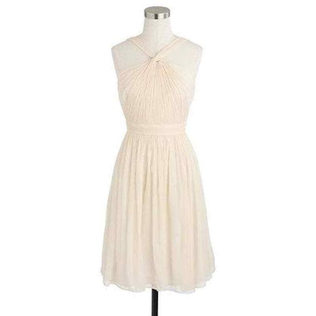 Item - Cream Silk Chiffon Halter Neck Sinclair In Champagne Mid-length Cocktail Dress Size 10 (M)