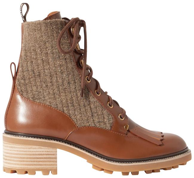 Item - Brown Franne Tasseled Leather and Ribbed Wool Ankle Boots/Booties Size EU 37 (Approx. US 7) Regular (M, B)