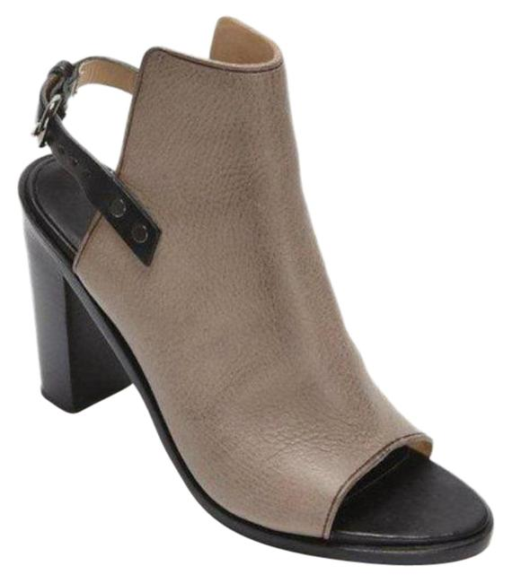 Item - Beige And Leather Peep Toe Heels Boots/Booties Size US 11 Regular (M, B)