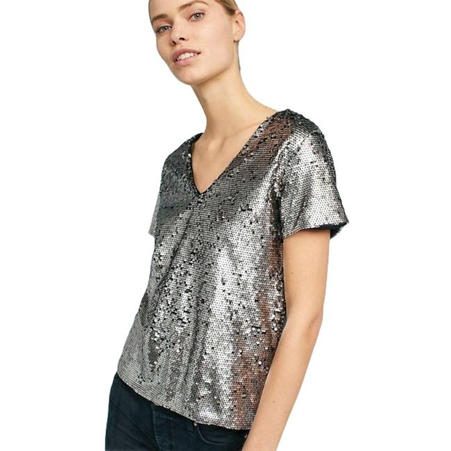 Item - Virginia Vanessa Sequin V-neck Silver Top