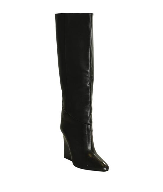Item - Black Leather Mid - Calves Wedge (197391) Boots/Booties Size EU 39.5 (Approx. US 9.5) Narrow (Aa, N)
