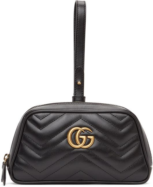 Item - Marmont New Gg Quilted Wristlet Zip Black Leather Clutch