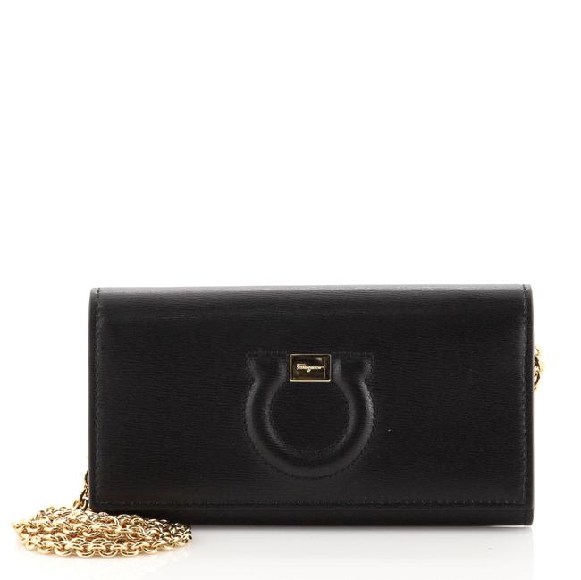 Item - Wallet on Chain Gancini Black Leather Cross Body Bag