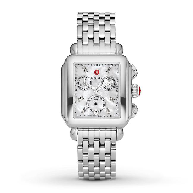 Item - Silver Deco Stainless Mother Of Pearl Diamond Mww06p000014 Watch