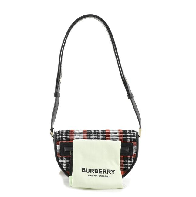 Burberry Olympia Knitted Tartan and Mini Red Fabric Leather Shoulder Bag Burberry Olympia Knitted Tartan and Mini Red Fabric Leather Shoulder Bag Image 2