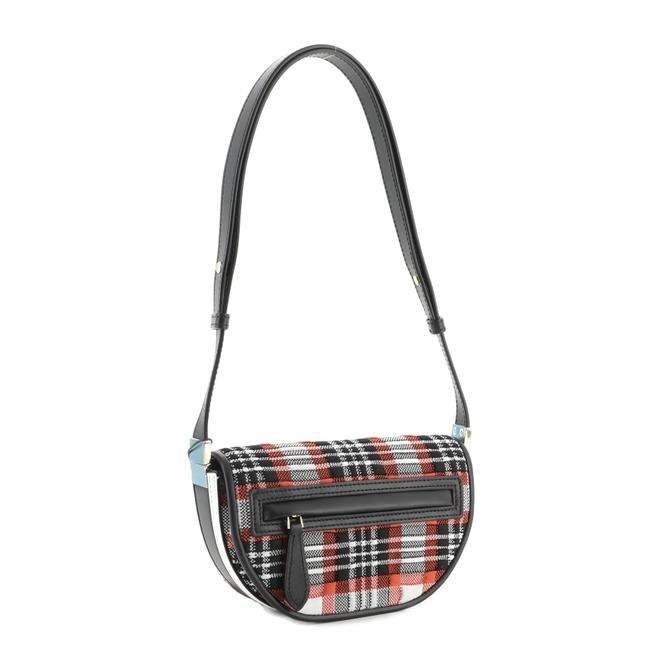 Burberry Olympia Knitted Tartan and Mini Red Fabric Leather Shoulder Bag Burberry Olympia Knitted Tartan and Mini Red Fabric Leather Shoulder Bag Image 3