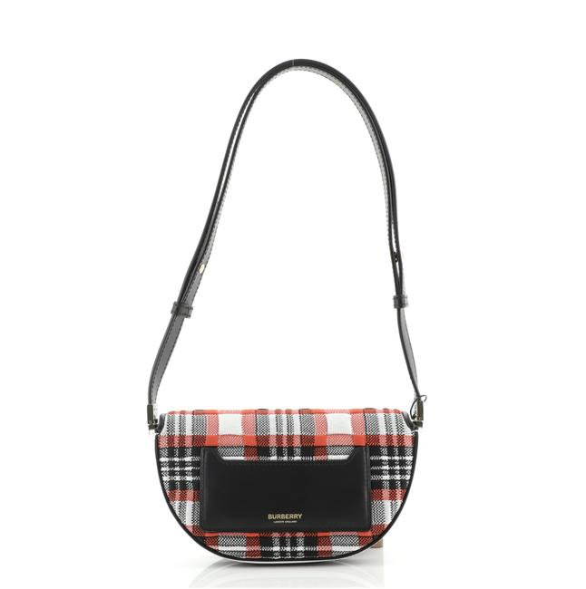 Burberry Olympia Knitted Tartan and Mini Red Fabric Leather Shoulder Bag Burberry Olympia Knitted Tartan and Mini Red Fabric Leather Shoulder Bag Image 4
