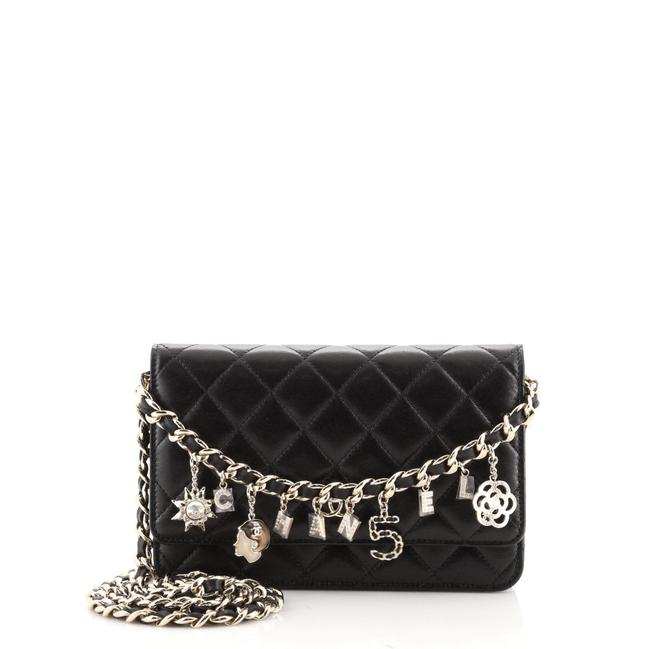 Item - Wallet on Chain Coco Charms Quilted Lambskin Black Leather Cross Body Bag