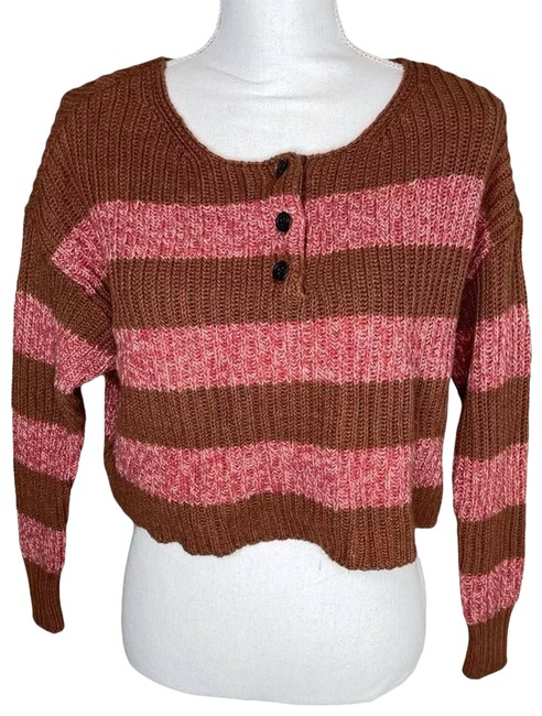 Item - XS Cropped Chunky Knit Brown Sweater