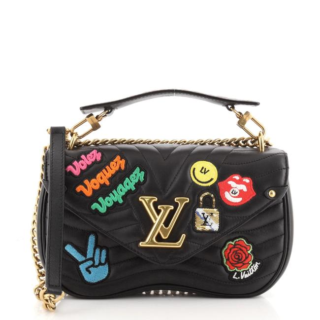 Item - New Wave Chain Limited Edition Patches Quilted Mm Black Multicolor Leather Cross Body Bag
