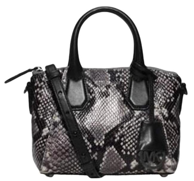 Item - Campbell Extra-small Embossed-leather Satchel Black and Gray Leather Snake Skin Cross Body Bag
