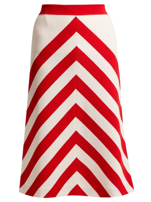 Item - Red Striped Wool Skirt Size 4 (S, 27)