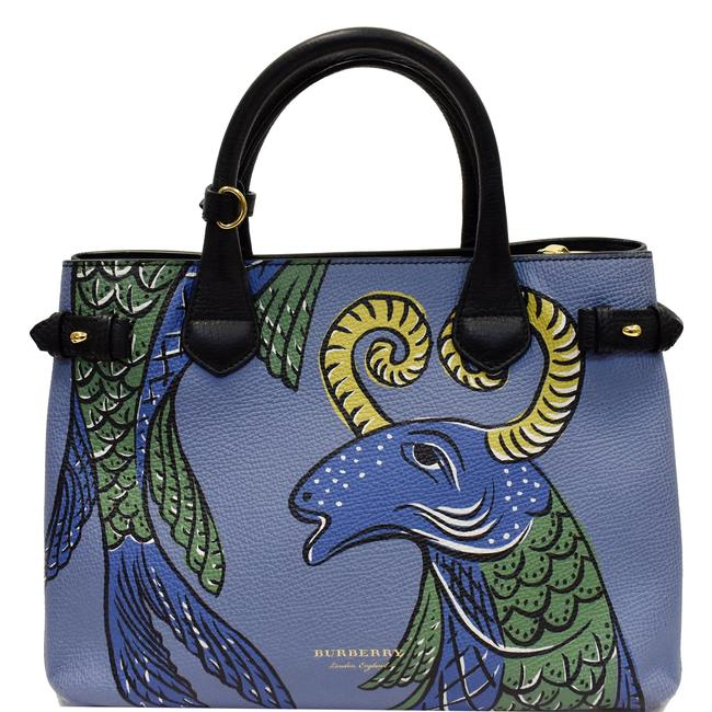 Item - Small Banner Blue Beasts Print Leather Satchel