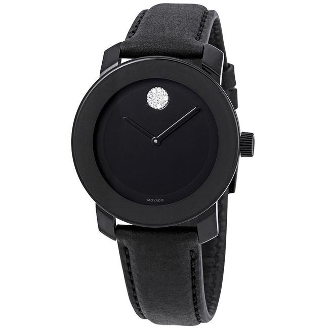 Item - Black Bold Leather Strap Crystal Dot Womens Quartz 3600483 Watch