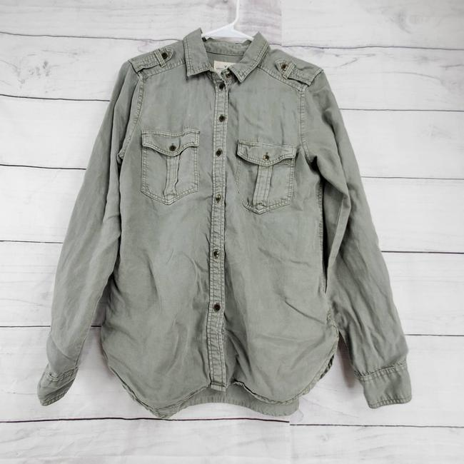 Item - Green Aeo Button Front Long Sleeve Utility Shirt Button-down Top Size 4 (S)