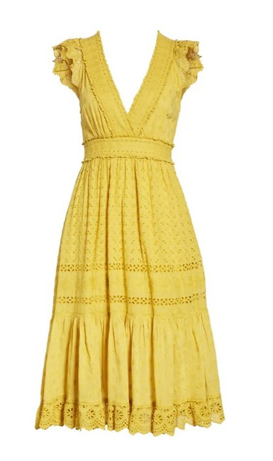 Item - Yellow Marjorie Eyelet Mid-length Casual Maxi Dress Size 6 (S)