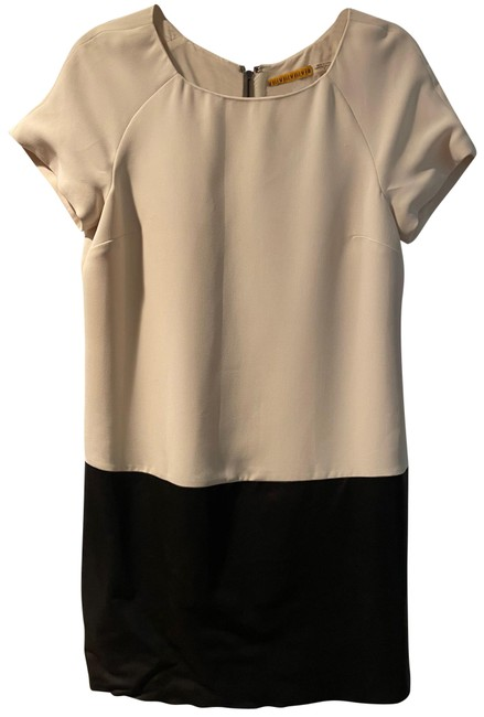 Item - Black and White Vegan Leather Panel Colorblock Mid-length Night Out Dress Size 8 (M)