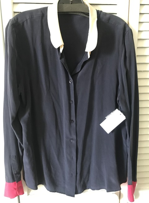 Item - Navy/Ivory/Hot Pink Sophie Colorblock Button-down Top Size 12 (L)