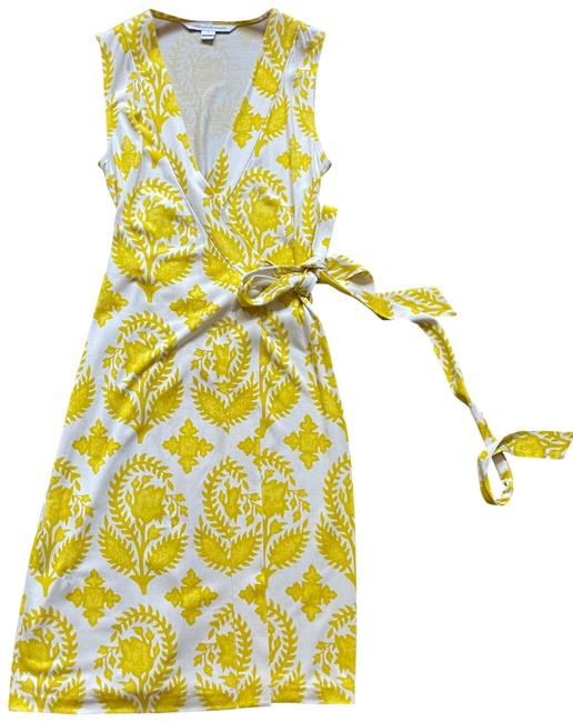 Item - Yellow and White Dvf Wrap Mid-length Work/Office Dress Size 2 (XS)