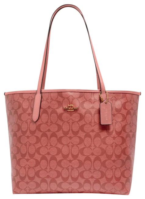 Item - Candy City Pink Coated Canvas and Smooth Leather Tote