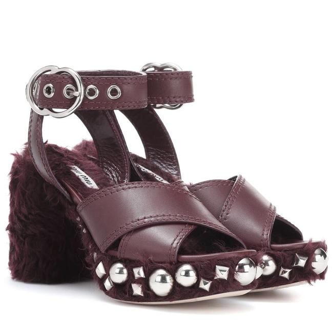 Item - Burgundy Studded Faux Shearling Leather Sandals Size EU 36 (Approx. US 6) Regular (M, B)