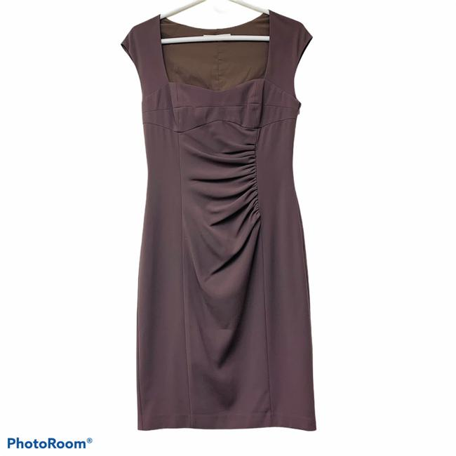 Item - L Taupe Ruch Shift Mid-length Cocktail Dress Size 6 (S)