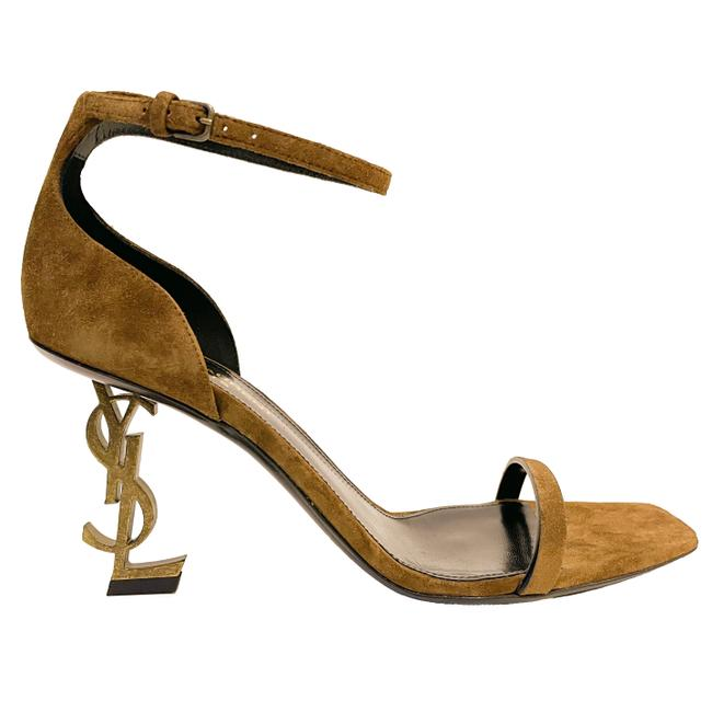 Item - Brown (Land) Opyum 85 Ysl Logo Heel Suede Leather Ankle Strap High Sandals Size EU 37.5 (Approx. US 7.5) Regular (M, B)