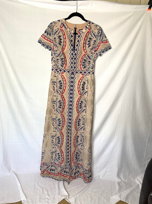 Item - Nude Color with Red and Blue Embroidery Long Formal Dress Size 6 (S)