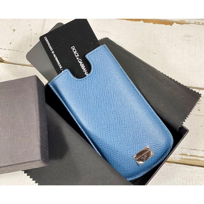 Item - Blue Saffiano Leather Card Holder Wallet