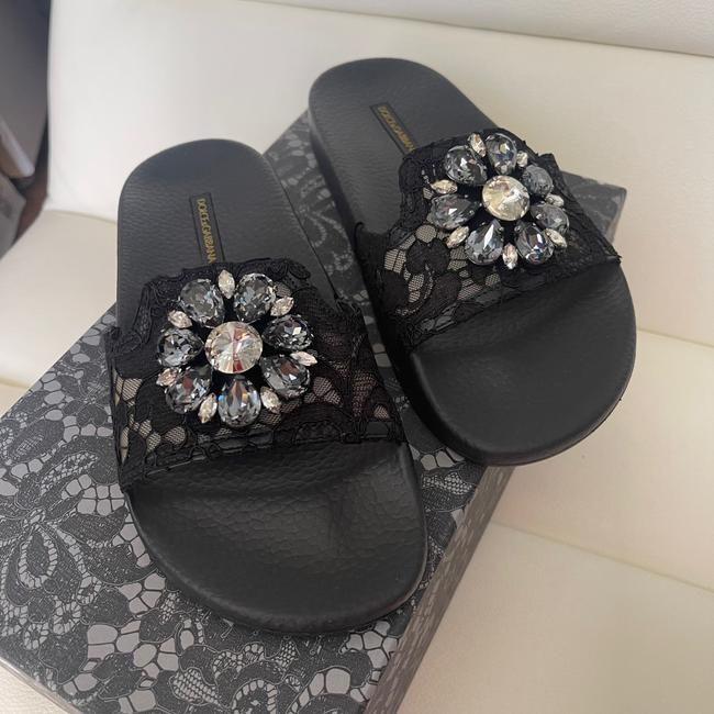 Item - Black New Dolce & Gabbana Lace Crystal 37 Sandals Size US 7 Regular (M, B)
